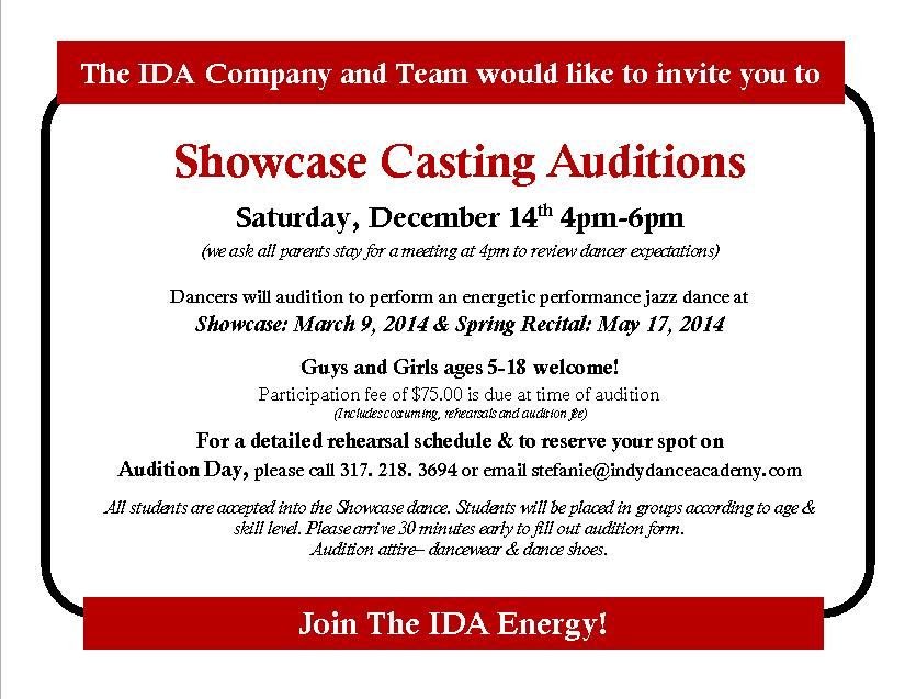 Showcase 2014 audition invites